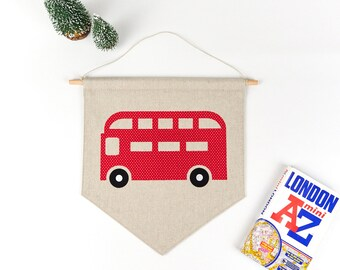 London rot Bus, Kinder Zimmer Dekor, Transport Wandkunst, Wimpelkette, Kinder Dekor, Double Decker, Kinderzimmer Dekor, Baby-Raum-Dekor