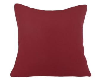 Red Holiday Pillows, Dark Red Christmas Pillow Covers, Merlot Red Pillows, Solid Red, Decorative Pillow, Merlot, Wine, Zipper, 16x16,18x18