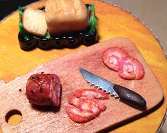 Dollhouse Miniature - Meat and Bread set
