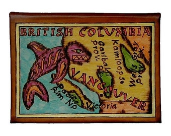BRITISH COLUMBIA - Leather Travel Journal / Sketchbook - Handmade