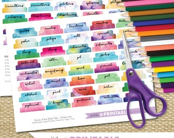 Printable Books of the Bible Tabs - Watercolor (for Hand Trimming) Set of 66