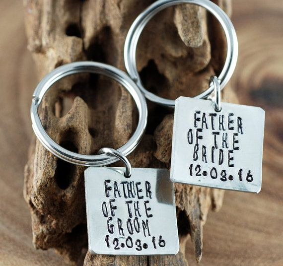 Father of the Bride and Groom Keychain Set   GIft for Dad   Personalized Keychains   Wedding Gift   Hand Stamped Keychains   Wedding Party