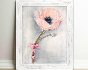 Pink Flower Wall Art, Girls room decor, Floral Nursery art, Baby Girl Nursery, Pink Nursery decor, Girls room wall art, Nursery decor girl