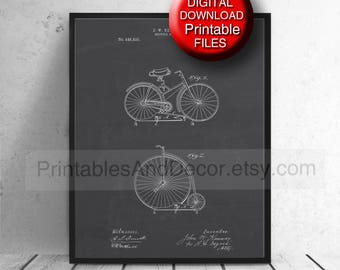 Printable Bicycle Patent Print Bike Poster Bicycle Wall Art 24x36 A4 8x10 5x7 11x14 16x20