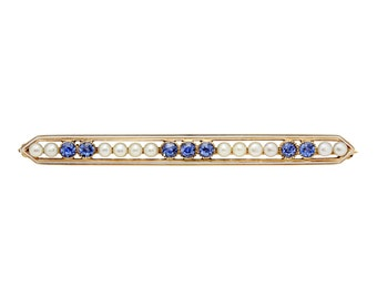 Antique sapphires, cultured pearls, 14 karat gold brooch.