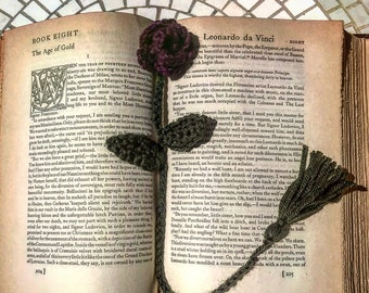 Crochet Bookmark/Rose Bookmark/Crochet Rose/Handmade/Bookmark/Red/Green/Bookmark/Unique Gift
