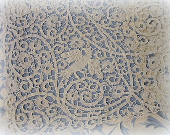 "eXquisite antique handmade italian bobbin lace runner 41"" x 17"" handmade italian cantu bobbin lace 5"" -  6"" WIDE white on white bird motif"