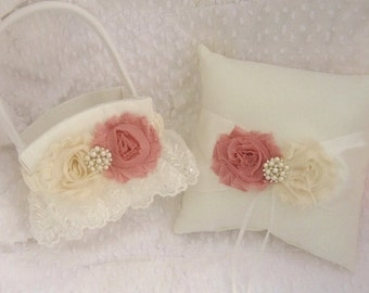 Victorian Wedding Ring Pillow .. Flower Girl Basket Set .. Shabby Chic Vintage Ivory and Rose Custom Colors too