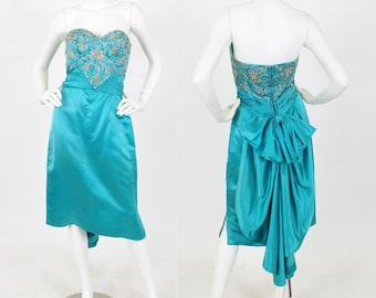 CLEARANCE 1950's Vintage Stunning Turquoise Silk Satin Beaded Bow Back Cocktail Dress Sz XS
