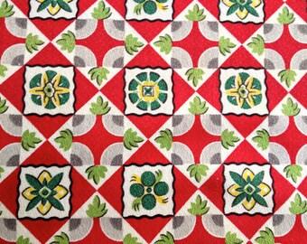 Early 20th Century Geometric Design Barkcloth// Pre WWII Decorator/Drapery Fabric// Cotton Yardage//Upholstery Weight