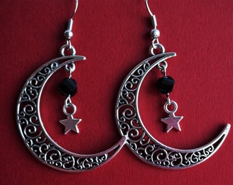 Filigree Moon with star and crystal Antique Silver Dangle Charm Earrings