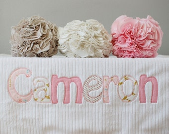 Monogrammed Baby Blanket in GLIMMER, Minky and Chenille Personalized with Your Baby Girl's Name in Metallic Gold and Pink Fabric Letters
