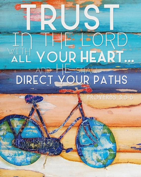 ART PRINT Proverbs 3:5-6, Christian Scripture Bicycle beach ocean inspirational Bible verse wall decor coastal graduation gift, All Sizes
