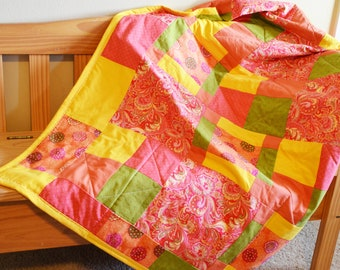 Spring Fling Quillow - Bold and Bright Pinks, Oranges, Yellow and Green Quillow