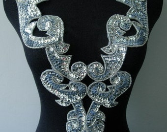 BD01 Large Silver Bodice Sequined Beaded Applique Motif Sew On Dancewear