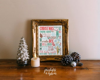 Christmas subway art printable print wall art decor christmas decoration decor holiday winter - INSTANT DOWNLOAD digital PDF typography