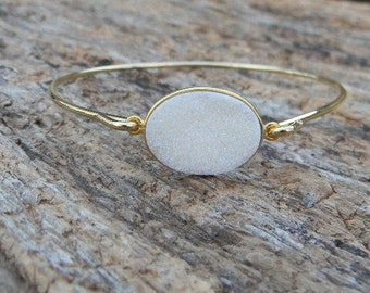 Druzy Bangle Bracelet / Gold Bracelet / Bridesmaid Gift / Bridesmaid Jewelry / Bridesmaid Bracelet / Druzy Bracelet / Drusy Jewelry / Gift