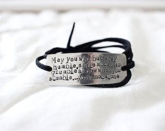 quote bracelet, inspirational jewelry, inspirational bracelet, wrap bracelet, custom bracelet, quote jewelry, graduation gift, birthday gift