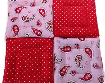 Quilted Coaster Set, Paisley Coaster Set,  Paisley Drink Coasters, Paisley and Heart, Fabric Drink Coasters, Hostess Gift, Housewarming Gift