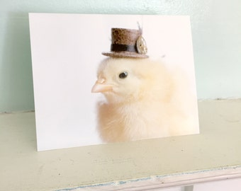 Huhn-Karte trägt ein Steampunk Hut Chicks in Hüte Baby Tier Notecards niedlich stationäre #97