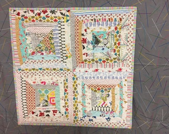 quilted, pieced, patchwork, string quilt, subtle, wall hanging/table centerpiece