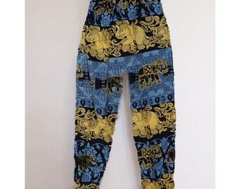 Thai harem pants Yellow-Grey - Lapin.DIY