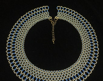 Blue and gold collar necklace