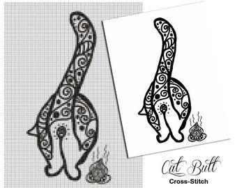 Cross Stitch Pattern Cat Butt