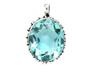 AllNOnly* Blue Crystal 925 Sterling Silver Pendant