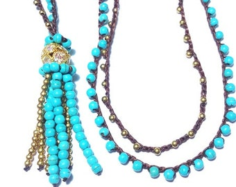 Turquoise Bead and Brass Crochet Necklace
