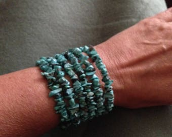 Wide memory wire turquoise nugget bracelet