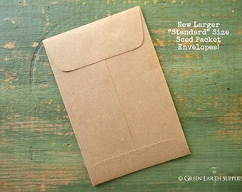 """100 Standard Size Seed Envelopes, Recycled Kraft Brown Seed Packets, Shower Favor Packets, Wedding Favor envelopes, 3"""" x 4.5"""" (76 x 114mm)"""