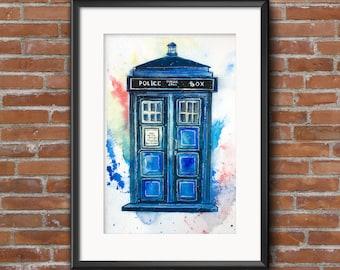 Original watercolor painting. Doctor who fanart. Watercolor TARDIS. Bad wolf. Blue police box. policebox