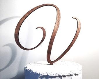 Wooden Wedding Cake Topper: Letter V, Monogram Cake Topper, Rustic Cake Topper, Handmade Cake Topper