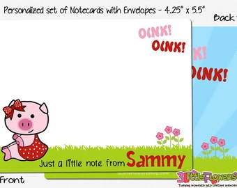 """Pig Note Cards - Set of Personalized Note Cards - 4.25"""" x 5.5"""" - Double-Sided Thank you Cards - Children Stationery - Kids Notecards"""