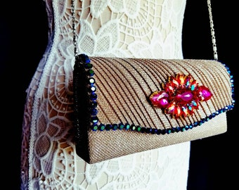Gold and pink vintage style special occasion hand clutch purse. Wedding clutches. Weddings. Minaudiere