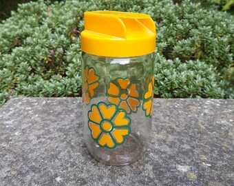 Vintage 1970's French glass floral honey storage jar, kitchenalia