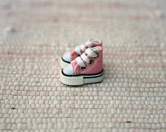 Pink keds for making dolls. Smallest shoes for dolls
