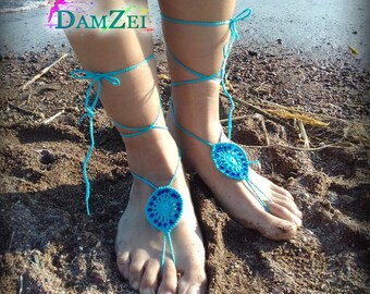 Turquoise Barefoot Sandal, Crocheted Anklet, Pink Barefoot Sandal, Lace Barefoot Sandal, Barefoot Anklet, Foot Jewelry