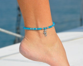 Seahorse Jewelry | Seahorse Anklet | Beach Foot Jewelry | Ocean Anklet | Elastic Anklet | Turquoise Ankle Bracelet | Beach Jewelry