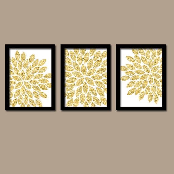 Flower Wall Art Silver GLITTER Flowers Wall Art Glitter