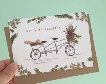 Tandem bike anniversary card- anniversay gift