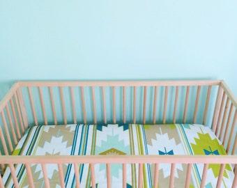 Crib Sheet Lime Multi Kilim. Fitted Crib Sheet. Baby Bedding. Crib Bedding. Crib Sheets. Kilim Crib Sheet.