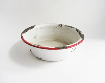 Vintage Enamel Bowl White Red Trim Rustic Distressed Enamelware Collectible