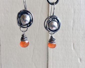 Recycled Sterling Silver and Carnelian Nest Earrings
