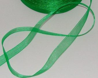 5 m organza Ribbon 10mm transparent green