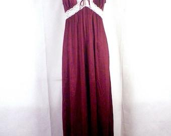 vtg 60s Vassarette Brown / White Lace Full Length Nightgown Lingerie dress S/M