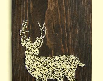 White Tailed Deer Silhouette - Modern String Art Tablet