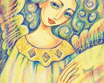 Spiritual art, healing hands, Reiki painting, angel painting, inspirational art, meditation, woman wall print 8x11+