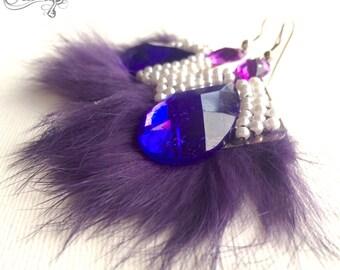 Real fur earrings, Purple earrings, Pearls earrings, Rhinestone earrings, Winter earrings, Statement earrings, Dangle earrings, Violet